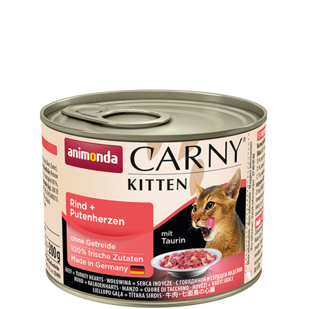 ANIMONDA Carny Kitten puszka wołowina i serca indycze 200 g