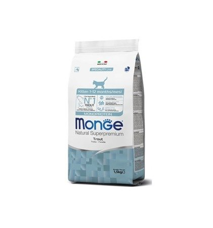MONGE MONOPROTEIN KITTEN PSTRĄG 1,5kg