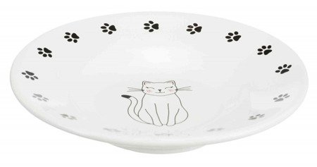 Trixie Miska ceramiczna dla kotów ras krótkopyskich, średnica 15 cm, kremowa z kotkiem